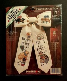 "Debbie Mumm Front Door Bow #72294 ""THE CAT RULES"" Dimensions Cross Stitch Kit #Dimensions #MuslinFrontDoorDecorativeBow17Long"