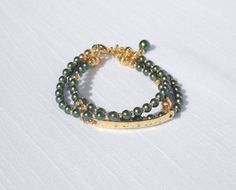 Swarovski green pearl and gold 3-strand bracelet with extender chain by ParkhillDesigns on Etsy