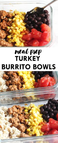Skip the takeout lunches and prep ahead of time with these EASY Meal Prep Turkey Burrito Bowls! Simple to make and full of flavor to keep you looking forward to your lunch all week long. | Lean, Clean, & Brie