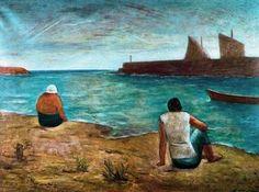 """Marina con veliero e barca"""", Oil by Carlo Carrà (1881-1966, Italy)"""