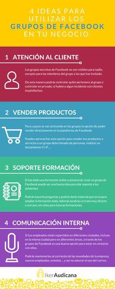 4 ideas para utilizar los grupos de Facebook en tu negocio. Infografía en español. #CommunityManager