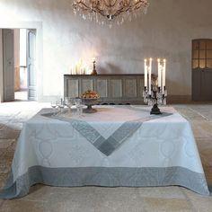 Petit Carré déco Villa Médicis Carrare 120x120 100% lin - Chemins de table - Petits carrés - La Table - Le Jacquard Français