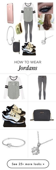"""""""Date"""" by lizziehearts4 on Polyvore featuring NIKE, MiH Jeans, Pin Show, Allurez, Pandora and Michael Kors"""