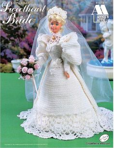 Thread Crochet Sweetheart Bride fashion doll wedding dress pattern, gown fits Barbie dolls. Annie's Attic crochet pattern book 870218.