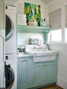 Blue Laundry Rooms, Laundry Room Sink, Laundry Room Layouts, Farmhouse Laundry Room, Laundry Room Organization, Laundry Room Design, Laundry Decor, Laundry Closet, Mud Rooms