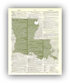 Louisiana  State  Art Print personalized  heart city by PrintLand, $25.00