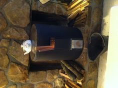 Rocket heater/stove up and running!!! It is HOT in here!!!