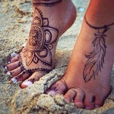 Brown Henna Indian Feather Tribal Mandala Foot Tattoo Ideas for Women at MyBodiArt.com
