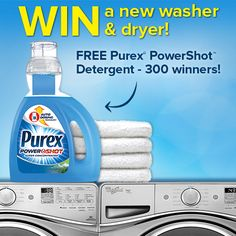 Enter the Purex PowerShot Coming Soon Sweepstakes for a chance to win a Whirlpool washer & dryer set!