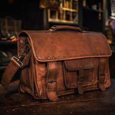 Everett Vintage Leather Briefcase Bag - Camel