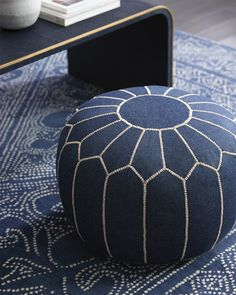 Indigo crush | Moroccan Denim Pouf via Serena & Lily