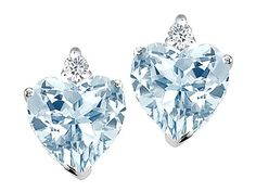 Tommaso Design Tm Heart Shape Simulated Aquamarine And Genuine Diamond Earring Studs Sku 305621 In Yellow Gold At Wish Ping Made Fun