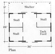 Small Barn Floor Plans | Barn Plan#N-AB-19b/Mohican Horse Barn