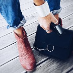 red boots denim Red Boots, Madewell, Chloe, Shoulder Bag, Tote Bag, Photo And Video, Denim, Bags, Instagram