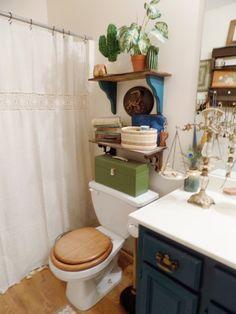 Blue Green Boho Bathroom