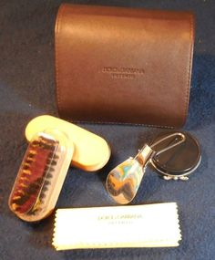 DOLCE & GABBANA Intenso MALE Shoe Cleaning Kit WITH BRUSH LEATHER CASE #DolceGabbana