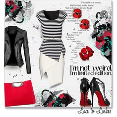 Limited Edition-Stripes by lacetolashes on Polyvore featuring Jane Norman, Mason by Michelle Mason, Christian Louboutin, Style & Co., Timorous Beasties, stripes, art and lacetolashes