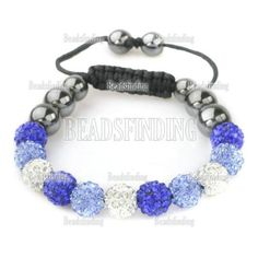 10mm-Pave-Crystal-Disco-Ball-Bead-Friendship-Shamballa-Adjustale-Bracelet