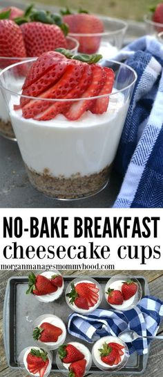 Lightly sweetened and full of protein and whole grains, these no-bake breakfast cheesecake cups are sure to please! Top with your favorite fruit and enjoy! #healthysnacks #healthydessert #healthybreakfast Breakfast Cheesecake, Cheesecake Cups, Breakfast Bake, Best Breakfast, Breakfast Fruit, Light Breakfast Ideas, Easter Breakfast Recipes, Breakfast Club, Brunch Recipes