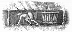 A drawing made in 1842 showing a girl harnessed to a coal wagon which she is pulling from the coalface to the bottom of the shaft