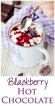 Blackberry Hot Chocolate is dark, mysterious, intense fun. Made with real blackberries, dark chocolate milk. It's perfect for snuggling up with in winter. Blackberry Hot Chocolate is d Winter Drinks, Holiday Drinks, Fun Drinks, Yummy Drinks, Healthy Drinks, Yummy Food, Christmas Drinks, Beverages, Tasty