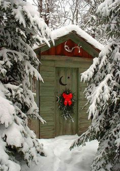Outhouse door ~ what I would love it to look like going to the outdoor shower in winter...probably wouldn't feel good, but the view would make me happy!