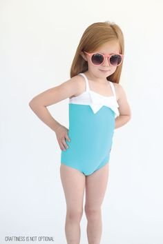 aqua and white swimsuit // craftiness is not optional