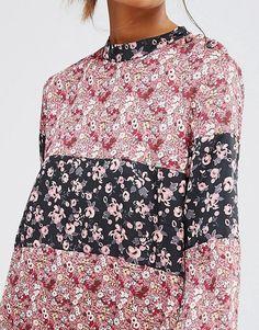 Image 3 ofFirst & I Patchwork Floral Swing Dress