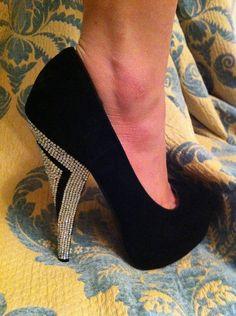 Crystal Ab Black Suede Platform Heels