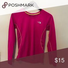 The North Face long sleeve athletic shirt Small long sleeve, bright pink with yellow stitch active shirt. Great for skiing or outdoor exercise. North Face Tops Tees - Long Sleeve