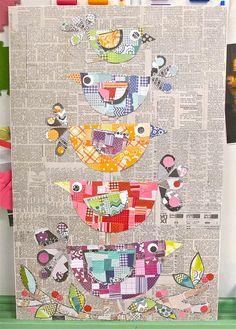 Collage Folk Art Birds 3rd grade auction item on canvas board 22 x 28