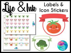 Life and Ink : Vegetable Cuties Labels and Icon Stickers [Printable], Erin Condren, calendar, diary, planner stickers, labels, healthy, diet