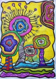Drawing For Kids, Art For Kids, Weird Art, Psychedelic Art, Acrylics, Art Projects, Indie, Abstract Art, Landscapes