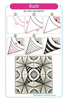 Bugle Tangle, Zentangle Pattern by YuRu Chen Doodles Zentangles, Zentangle Drawings, Zentangle Patterns, Doodle Drawings, Zen Doodle Patterns, Easy Drawings, Doodle Zen, Tangle Doodle, Tangle Art