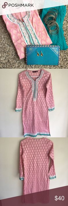 """Pair of Indian kurti (tunic) & chudidar A lovely pair of Indian ethnic wear called kurti(top) and chudidar(pants). To be worn together. The chudidar is 100% cotton, measures 47 inches in height and 37.5"""" inseam. The kurti is 39.5 inches in height and arm pit to armpit measures 34 inches. Dresses"""