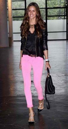 Black & Pink Skinny Jeans