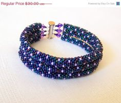 CHRISTMAS SALE SALE - Beadwork - 3 Strand Bead Crochet Rope Bracelet in irridescent blue and lilac - beaded bracelet - beaded jewelry