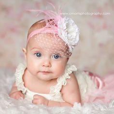 Baby Headbands, Pink Feathers, Birdcage Veiling, Infant Headband, Flower Headband Baby, Newborn Photo Prop, Toddler Headband. $11.95, via Etsy.