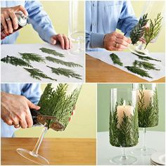 Evergreen budget candle vases.  1) Clean vase with window cleaner 2) Spray evergreen pieces with spray adhesive 3) Stick on 4) Enjoy
