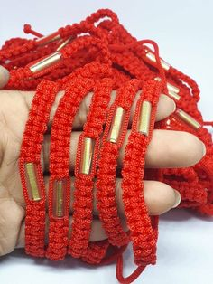 5x Thai Buddha Amulet Red White Sai Sin Bracelet Takrud Brass Magic Colorful