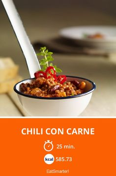 Chili con Carne - smarter - Kalorien: 585.73 kcal - Zeit: 25 Min.   eatsmarter.de Eat Smarter, Beans, Low Carb, Soup, Vegetables, Chili Con Carne, Ground Meat, Chef Recipes, Food And Drinks