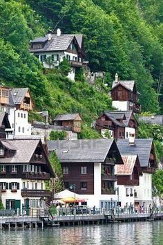 Houses by the lake Hallstatter See Austria