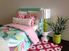 Light Aqua doll bed with aqua/pink pattern blanket blanket, Monster High furniture, Barbie furniture, Fits 2 dolls