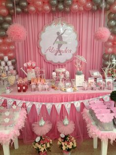 Backdrop and dessert table at a Ballerina girl Birthday Party!  See more party ideas at CatchMyParty.com!
