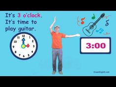 A fun video to introduce telling time! from Dream English… Telling Time Activities, Teaching Time, Teaching Math, Math Activities, Math Songs, Kindergarten Songs, Kids Songs, School Songs, School Videos