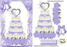 WEDDING CAKE WITH LILAC ICING AND BELLS on Craftsuprint - Add To Basket!