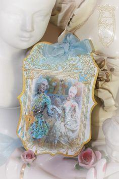 la danse Marie Antoinette wedding dance at Versailles die cut, gold-gilded tags with Swarovski crystals.