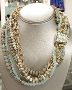 """Rosemary"" necklace from Twilight Collection honors women who inspired the artist.  Clasp is Grecian Sands fused glass (7 layers) hand bezeled in sterling.  19"" Necklace has 6 strands of African opals, beige natural freshwater pearls, aquamarine beads, textured gold plated chain, crystal seed beads and fresh water pearls.  Please inquire for price and availability."