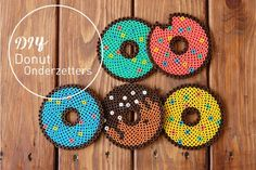 DIY: donut onderzetters van strijkkralen Some time ago we were a fan of Fimo Clay, a product we used Perler Bead Designs, Hama Beads Design, Diy Perler Beads, Hama Beads Patterns, Perler Bead Art, Beading Patterns, Bead Crafts, Diy And Crafts, Crafts For Kids