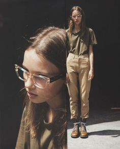 photography Black and White fashion thin hipster photograph indie Model brunette glasses modelling womenswear longhair posing womens clothing Diane Keaton, Transparent Glasses Frames, Tomboy Stil, Photocollage, Tomboy Fashion, Nerd Fashion, Feminine Fashion, Fasion, Style Fashion